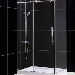 "DreamLine - DreamLine SHEN-6134480-07 Enigma-X Shower Enclosure - DreamLine Enigma-X 34 1/2"" by 48 3/8"" Fully Frameless Sliding Shower Enclosure, Clear 3/8"" Glass Shower, Brushed Stainless Steel Finish"