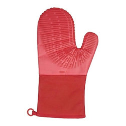 "Oxo - Oxo Good Grips Silicone Oven Mitt with Magnet - 600""F heat-safe. Flame, stain & steam resistant silicone grip.Soft, fabric liner for added insulation and comfort. Non-slip silicone ribs for improved dexterity and grip. Convenient storage with embedded Magnet and silicone hanging loop. Easy to clean with a damp cloth. Machine washable. 13"" length for extra protection."