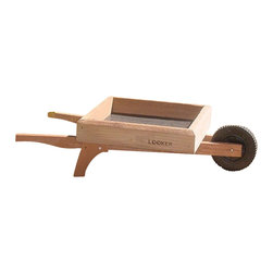 Songbird Essentials - Wheelbarrow Ground Feeder - Quaint red cedar ground feeder. Holds 12 cups of seed.