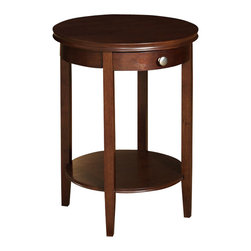 """Powell Furniture - Powell Furniture Shelburne Cherry Accent Table - Powell Furniture - Accent Tables - 998506 - This contemporary """"Cherry"""" accent table is convenient storage in any room of your home. A round shelf on the table provides a great space for storing magazines, coasters, or your favorite books. Made of select hardwood veneers and solid wood materials, the contemporary styling of this table has bentwood skirt, chrome knob and three square tapered legs. Some assembly required."""