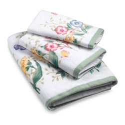 Lenox - Lenox Butterfly Meadow Multi-Colored Bath Towel - Inspired by Lenox dinnerware, these beautiful Butterfly Meadow towels are embroidered with lovely springtime depictions that will freshen up the look of any bathroom.