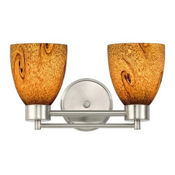 Design Classics Lighting - Satin Nickel Modern Bathroom Light with Brown Art Glass - 702-09 GL1001MB - Contemporary / modern satin nickel 2-light bathroom light. Takes (2) 100-watt incandescent A19 bulb(s). Bulb(s) sold separately. UL listed. Damp location rated.