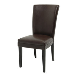 Steve Silver Furniture - Steve Silver Willow Parson Side Chair in Black - Providing style and comfort to any room, the Willow leather Parsons chairs are covered in a dark brown vinyl and are finished with rich black legs.