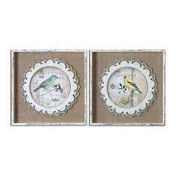 Uttermost - Uttermost Bird Stamps Framed Art Set of 2 55011 - The bird prints are applied over the loosely woven burlap mats then surrounded by the decorative, scalloped detailing that is made of metal and finished in white. Frames are heavily distressed white with Medium size:ium brown undertones and light gray wash.�