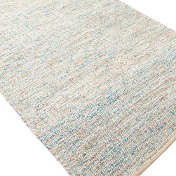 Jaipur Rugs - Flat-Weave Soft Hand Wool/Art Silk Blue/Ivory Area Rug (8 x 10) - Woven recycled Sari silk is mixed with un-dyed wool to create a blanket of texture and color. The rugs are reversible making them versatile as well as soft and comfortable.