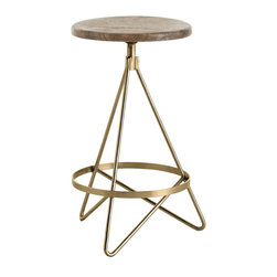 Arteriors Home - Arteriors Home - Wyndham Swivel Counter Stool In Vintage Brass - 6698 - Counter stool with tube shaped triangular iron legs in vintage brass finish with round wooden swivel seat in distressed wax finish.