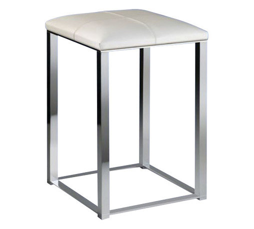 Windisch - Bathroom Stool with White Leather Top - Contemporary style stool with white leather top.