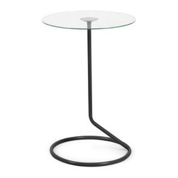 Umbra - Umbra Loop Side Table, Black - Our Loop side table in black by Umbra is simple and pure in its form, giving the illusion of a balancing table top and its tubular structure below. This table constructed of tempered glass with powder coated steel base, great for small spaces such as condos, apartments or small homes. Designed by Alan Wisniewski for Umbra- the worldwide leader in casual, contemporary, affordable design for the home.