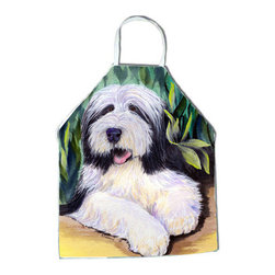 Caroline's Treasures - Bearded Collie Apron SS1038APRON - Apron, Bib Style, 27 in H x 31 in W; 100 percent  Ultra Spun Poly, White, braided nylon tie straps, sewn cloth neckband. These bib style aprons are not just for cooking - they are also great for cleaning, gardening, art projects, and other activities, too!