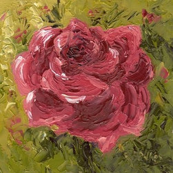 """Pink Rose (Original) by Rosie Phillips - This little gem of a painting is done with palette knife only in oils on a 4 x 4 panel and then framed in simple 1"""" black frame. The luscious oil paint has great texture thanks to my use of the palette knife. A rose is a rose! A great little gem for that little spot that needs a """"rosy"""" touch!"""