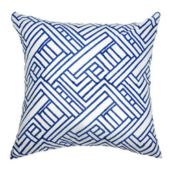 """Bandhini - Hash Print Navy Medium Throw Pillow - The Hash print throw pillow exudes abstract modernity. On a white cotton background, navy blue silk accents allure in a geometric block pattern. 18""""W x 18""""H; 60% silk, 40% cotton; Dry clean; Grey goose down fill insert included"""