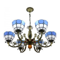 ParrotUncle - Blue White Stained Glass Iron Base 6 Lights Tiffany Chandelier - Blue White Stained Glass Iron Base 6 Lights Tiffany Chandelier