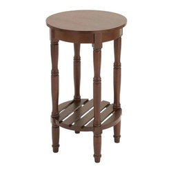 "Benzara - Wood Side Table with Round Surfaces Top and Open Rack Below - Wood Side Table with Round Surfaces Top and Open Rack Below. Add decor to your furniture set with this astonishing side table. It comes with a following dimensions 16""W x 16""D x 29""H."