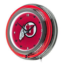 Trademark Global - Round Neon Wall Clock w University of Utah Lo - Great for gifts and recreation decor. Full color logo on the clock face. Double ring of neon (outside ring coordinates with screen printed logo and inside ring illuminates the clock face). Battery operated quartz clock mechanism (battery included). 110 Volt power supply for power to the neon lights included. High polished chrome finish molded resin housing. Size: 14 in. Dia. (7 lbs.)This officially licensed NCAA neon clock is a great wall display for your team.  This is a very high quality double neon clock with raised bubble acrylic front cover.