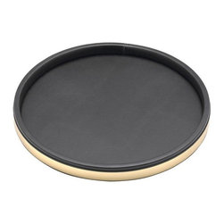 Kraftware - Sophisticates 14 in. Polished Gold Deluxe Tray in Black - Made in USA. 14 in. Dia. (1.5 lbs.)Classic Black Leatherette Elegance. Always as appropriate as a formal tuxedo at a reception. You can't go wrong with Sophisticates.