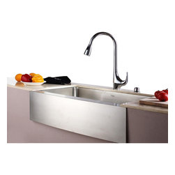 "Kraus - Kraus 33"" Farmhouse Single Bowl Stainless Steel Sink Combo Set - Add an elegant touch to your kitchen with unique Kraus kitchen combo"