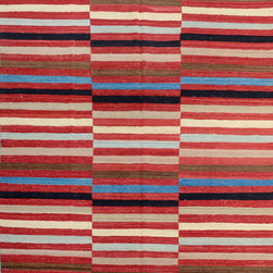 """ALRUG - Handmade Multi-colored Oriental Kilim  6' 8"""" x 10' (ft) - This Afghan Kilim design rug is hand-knotted with Wool on Wool."""