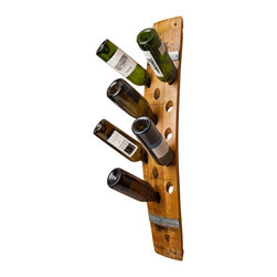 Alpine Wine Design - Wine Barrel Wall Wine Rack 16 - With enough space to hold 16 of your favorite varietals, this wine rack makes the best cellar list. Crafted from Napa Valley wine barrel staves and accented with the original metal bands, it holds each bottle at the ideal angle to keep the corks moist.