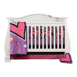"Sassy Shaylee - Infant Set (8pc) - Let  ""Sassy Shaylee"" make a bold and beautiful statement of who you are! Enter a room that shouts out in color and style!  Bold black surrounded by a gorgeous pattern of stripes, hearts, flowers and curly swirly designs in hues of pink, purple, orange and a dynamic yellow!  This 8pc set includes: 4pc bumper, crib bed skirt, crib sheet, coordinating quilt, valance, diaper stacker, 2 sheets of wall decals and wall decal growth chart.  4pc bumper is a combination of  ""Sassy Swirl"" designer cotton print fabric and soft minky fabric.  Front of bumper is ""Sassy Swirl"" and back / inside of bumper is our bold black cotton fabric with accent of purple minky fabric in a thick stripe through the middle.  Bumper designed with a gorgeous double ruffle trim in purple and yellow cotton fabric and welting  and ties in pink minky.  Crib skirt designed in solid black cotton with gorgeous trim in ""Sassy Hearts"" cotton fabric. Crib sheet available in the collections ""Purple & Black Stripe""  designer print fabric.  Offered in cotton fabric.  Quilt is absolutely stunning and made with the softest of minky fabrics.  Front of quilt is this collections gorgeous purple minky with appliqu�s in hearts, flowers and dots. Back is solid pink minky.  Entire quilt is trimmed in silky satin bold black ruffled trim. Valance main area is designed with our solid pink cotton fabric, trimmed in ""Purple & Black Stripe"" and yellow cotton fabrics.   The collections diaper stacker is constructed in bold black at the top with ""Sassy Hearts"" on the bottom.   The ""Sassy Shaylee"" wall decals are to be loved!  Add hearts, flowers and dots to your walls in all the fun colors this collection offers  to fit your personality.   Easy to add and then remove as you want. Comes in a set of 2 sheets.  Wall decal growth chart creates a lot of fun for any child's room.  Growth chart is easy to add and then remove -- just like all of ""One Grace Place"" decals.  Chart comes in two separate pieces easy to put in a perfect place for you to track your child's growth and designed to accent all ""One Grace Place"" rooms specifically by collection.  SAVE WHEN YOU BUY AS A SET!"