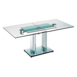 """Nabucco Bacher - Boat-shaped or rectangular, extendable dining table: boat-shaped closed 180 x 103 cm  / 70.86 x 40.55"""", or 200 x 103 cm / 78.74 x 40.55"""" , open boat shape 240 x 103 cm / 94.48 x 40.55"""" or 260 x 103 cm / 102.36 x 40.55"""" rectangular closed 190 x 95 cm / 74.80 x 37.40"""" , rectangular open 250 x 95 cm / 98.42 x 37.40"""",  74 cm high / 29.13"""" high. Table top and base plate in clear glass. Metal parts and columns in polished chrome or matt chrome."""