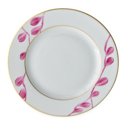 Michael Devine Ltd. - Charlotte Salad Plate Classic, Cyclamen - This graceful design, masterfully hand painted in France on Limoges porcelain by Marie Daage, is inspired by Michael Devine's hand printed fabric. The butterfly motif adds a note of whimsy to the pattern on the dessert plate, mug, breakfast cup and saucer, as well as the teapot. Each beautiful piece is accented in 24 karat gold.