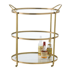 Kathy Kuo Home - Connaught Antique Brass Oval Modern Bar Serving Cart - Classic Art Deco design and luxurious materials come together to form three perfect circular glass platforms, making this bar cart as much a piece of art as a functional, rolling round table. With two handles for easy transport, you'll be toasting its great style for decades.