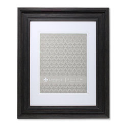 "Lawrence Frames - 11x14 Wide Grooved Black Matted to 8x10 - Fabulous wide black fluted compostie picture frame.  This is a gorgeous and elegant matted picture frame that will be a great decorative addition to any room.  This frame can be used for an 8"" x 10"" photo with included mat, or 11"" x 14"" photo or document without the mat.  Comes with hangers for vertical or horizontal wall mounting.  High quality black masonite backing.  Picture frame comes with glass to protect your photo, and is individually boxed."