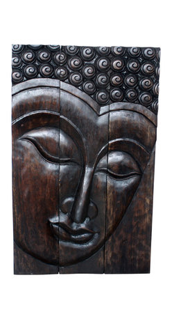 Kammika - Buddha Panel Serene Sust Wood 30 x 47 inch H w  Eco Friendly Livos Mocha Oil Fin - This beautiful Buddha Panel Serene 30 inch length x 47 inch height x approximately 6 inch thickness, including the approximately 4 inch protruding nose, Sustainable Monkey Pod wood in Eco Friendly, Natural Livos Mocha Oil Finish Wall Panel presents a Buddha peaceful countenance gazing down from the magnificent, stately resource of wood. Now you can discover the calming, inspiring effect of Buddha in the Serene stage when you display this wall panel which has been carved from joining panels. Our wall panels are exquisite expressions of beauty that could become the centerpiece of any room they grace. Each panel has two embedded flush mount Keyhole hangers for a protruding screw from your wall. Hand carved by craftspeople in Thailand, these are made of sustainable wood grown specifically for the woodcarving industry. They are hand rubbed in Livos Mocha Oil Finish comprised of translucent Livos Black Oil over rich Livos Chestnut Oil creating a dark Mocha water resistant and food safe finish, where the wood color and grain shows through in dark brown and mocha tones .These natural oils are translucent, so the wood grain detail is highlighted. Polished to a matte finish, there is no oily feel and cannot bleed into carpets. We make minimal use of electric hand sanders in the finishing process. All products are dried in solar or propane kilns. No chemicals are used in the process, ever. After each piece is carved, dried, sanded, and rubbed with Livos Mocha oil, they are packaged with cartons from recycled cardboard with no plastic or other fillers. The color and grain of your piece of Nature will be unique, and may include small checks or cracks that occur when the wood is dried. Sizes are approximate. Products could have visible marks from tools used, patches from small repairs, knot holes, natural inclusions or holes. There may be various separations or cracks on your piece when i