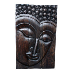 Kammika - Buddha Panel Serene Sust Wood 30 x 47 inch H w  Eco Friendly Livos Mocha Oil Fin - This beautiful Buddha Panel Serene 30 inch length x 47 inch height x approximately 6 inch thickness, including the approximately 4 inch protruding nose, Sustainable Monkey Pod wood in Eco Friendly, Natural Livos Mocha Oil Finish Wall Panel presents a Buddha peaceful countenance gazing down from the magnificent, stately resource of wood. Now you can discover the calming, inspiring effect of Buddha in the Serene stage when you display this wall panel which has been carved from joining panels. Our wall panels are exquisite expressions of beauty that could become the centerpiece of any room they grace. Each panel has two embedded flush mount Keyhole hangers for a protruding screw from your wall. Hand carved by craftspeople in Thailand, these are made of sustainable wood grown specifically for the woodcarving industry. They are hand rubbed in Livos Mocha Oil Finish comprised of translucent Livos Black Oil over rich Livos Chestnut Oil creating a dark Mocha water resistant and food safe finish, where the wood color and grain shows through in dark brown and mocha tones .These natural oils are translucent, so the wood grain detail is highlighted. Polished to a matte finish, there is no oily feel and cannot bleed into carpets. We make minimal use of electric hand sanders in the finishing process. All products are dried in solar or propane kilns. No chemicals are used in the process, ever. After each piece is carved, dried, sanded, and rubbed with Livos Mocha oil, they are packaged with cartons from recycled cardboard with no plastic or other fillers. The color and grain of your piece of Nature will be unique, and may include small checks or cracks that occur when the wood is dried. Sizes are approximate. Products could have visible marks from tools used, patches from small repairs, knot holes, natural inclusions or holes. There may be various separations or cracks on your piece when it arrives. There may be some slight variation in size, color, texture, and finish color.Only listed product included.