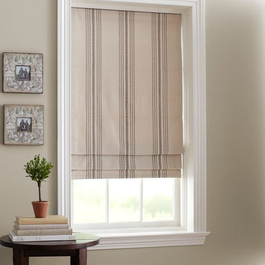 French Stripe Cordless Roman Shade - Change out a mini blind for a beautiful roman shade.