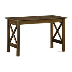 Atlantic Furniture - Lexi Work Table AW - You'll have plenty of work space with this versatile work table, a stylish and functional addition to any office decor. Constructed of hardwood solids in antique walnut finish with crossed slat side panels for an old world appeal, the table will be a versatile choice for any home office design. Solid hardwood construction. Rectangular in shape. Distinct side panel designs. 48 in. W x 29.63 in. D x 24 in. H. Assembly Instructions 1. Assembly Instructions 2With the addition of Santa Fe or Lexington side panels, we've expanded the styling options of the Shaker Work Table.