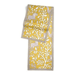 Yellow Modern Animal Motif Custom Table Runner - Set a table for a king! or just your family and friends!! with our gorgeous Tailored Table Runner. Solid edging adds a touch of refinement, perfectly setting off the center fabric. We love it in this sketched African animal and vine motif in modern mustard yellow. Be wild and wonderful!
