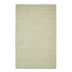 MSR3612D Martha Stewart Rug - 5'x8' - Inspired by a vintage printed paper the foliage of Chevron Leaves has been dramatically increased in scale to create an unexpected yet decidedly elegant stripe. Cut-pile viscose yarns add depth and dimension to the loop pile New Zealand wool ground.