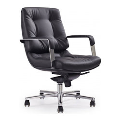 White Line Imports - Princeton Low Back Office Chair in Black Leatherette - Compact, modern and versatile, this office chair with low back design will take its place in any office. The chair is upholstered in black leatherette with tufted accent, creating a refined modern classic look. The chair will help to do your tasks simply, featuring multi-function mechanism with 5 positions, adjustable height and base with castors.