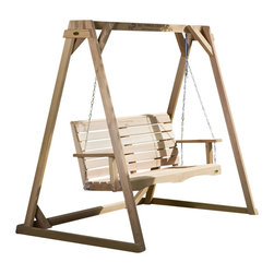 All Things Cedar - 4ft. Swingw/ A-Frame Set - This set includes our popular PS48U porch swing and hardy 6ft. A-Frame to mount it on. Mounting hardware and chain all included ~ load weight approx.600 lbs : DIMENSIONS : A-FRAME ; 70w x 48d x 68h --- SWING : 54w x 23d x 24h (unassembled kit)