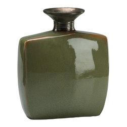 Cyan Design - Cyan Design 02075 Large Olive Green and Brown High Gloss Vase - Cyan Design 02075 Large Olive Green and Brown High Gloss Vase