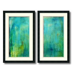 Amanti Art - Erin Ashley 'Blue Mountain Rain- set of 2' Framed Art Print 19 x 31-inch Each - Add a soothing effect to your decor with the cool blues and greens of the Blue Mountain Rain set.  Erin Ashley is a self-taught artist who seeks to provide the viewer with an escape from reality with her art.