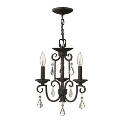 Hinkley Lighting - Hinkley Casa Olde Black Three-Light 12.5 Wide Mini-Chandelier - Casa makes the most of its fine details- individually unique antique scavo glass twisted wrought iron and hand-forged scrollwork in an Olde Black finish complete its rustic-chic appeal with a Southwestern flair.Under four generations of family leadership Hinkley Lighting has transformed from a small outdoor lantern company to a global brand intent on bringing you the best in style quality and value. LIFE AGLOW: That's their mantra and they take it seriously. By welcoming their products into your home they become part of your family's everyday life illuminating small moments and big occasions. They understand your home is so much more than a physical place. It's an emotional space designed by you so they are committed to keeping your 'Life Aglow' with stylish state-of-the-art lighting. Their products are the ultimate combination of style and substance. They are constantly developing new technologies to make their fixtures even more energy efficient. Hinkley recently upgraded their LED to cutting-edge high lumen output integrated solutions and they give you hundreds of energy-efficient styles to choose from. Even their Cleveland-based world headquarters employs high energy saving standards with low VOC materials and a variety of eco-smart applications into the design to make an earth-friendly work environment for their Hinkley family. Hand crafted fixtures luxe finishes artistic details and quality materials go into the design of every product they make. They embrace the philosophy that you can merge together the lighting furniture art and accessories you love into a beautiful environment that defines your own personal style.
