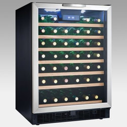 Danby DWC508BLS 50-Bottle Built-in or Free Standing Wine Cooler - Whether wine has a permanent presence in your life or is simply a celebratory treat the Danby 50 Bottle Built-in or Freestanding Wine Cooler will keep your collection at the perfect temperature for whenever the mood strikes. Able to be installed into your kitchen as a permanent appliance or used as a freestanding bar in your rec room this cooler has a digital blue LED thermostat to help you precisely monitor the internal conditions.The tempered glass door has a stainless steel frame and handle which contrast nicely with the beechwood faces on the 6.5 sliding black wire shelves. A cool blue LED track lighting system beautifully showcases up to 50 sparkling bottles without the heat of an incandescent bulb. The reversible hinge lets you hang the door for left- or right-hand opening. An integrated lock with key protects your valuable collection and secures it from curious children.Note: Single Zone wine coolers are intended to store only one type of wine at a time as they have only one temperature zone that can be set to cool either red white or sparkling wine.About Danby ProductsDanby is one of the largest household appliance marketing companies in North America with an impressive lineup of compact specialty and home comfort appliances to suit the lifestyles of today's consumer. Danby's reputation as a leader in the appliance market has been achieved by researching what consumers want and providing quality innovative products at competitive prices to fit their lifestyles.