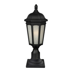 Z-Lite - Z-Lite 508PHB-533PM-BK Newport 1 Light Post Lights & Accessories in Black - Contemporary yet elegant, this large outdoor pier mount is inspired by traditional octagonal lanterns but with a modern construction. White seedy glass panels are paired with a sleek black finish, and this fixture is made of cast aluminum in order to endure all seasons.