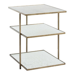 Arteriors - Nicolette Side Table - Antique Brass - This rectangular three-tier, four-sided, three-legged iron side table has antiqued mirror shelves.  This is the perfect table next to the bed in your guest room since it can hold everything your visitor might need to feel right at home and still have room for the things they brought.  Comes in Zinc or Antique Brass finish.