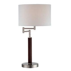 Lite Source - Swing Arm Table Lamp - Walnut/White Fabric - Swing Arm Table Lamp - Walnut/White Fabric