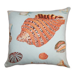 The Pillow Collection - Rayen Coastal Pillow Orange Blue - Add a gorgeous beach-themed decor style to your home with this accent pillow. This throw pillow showcases sea creatures in bold colors like orange, brown and red printed on a blue background. This square pillow looks great when paired with solids in vivid colors and other textures. Toss this 100% cotton-made pillow in your living room or bedroom. Hidden zipper closure for easy cover removal.  Knife edge finish on all four sides.  Reversible pillow with the same fabric on the back side.  Spot cleaning suggested.