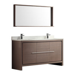"Fresca - Fresca Allier 60"" Gray Oak Double Sink Vanity w/ Mirror - Dimensions of vanity:  60""W x 20.5""D x 33.5""H. Dimensions of mirror:  55.25""W x 25.5""H x 6""D. Materials:  Plywood w/ veneer, glass stone countertop, ceramic sinks with overflow. Single hole faucet mounts. P-traps, faucets, pop-up drains and installation hardware included.  The Fresca 60"" Allier double sink bathroom vanity is the perfect model for the newlywed.  It offers his and hers separate sinks, along with a unique square design.  Plenty of storage space is available with an additional shelf on the matching mirror."