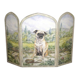 "Stupell Industries - Pug Dog 3 Panel Decorative Fireplace Screen - Decorative and functional. Made in USA. Original Stupell art. 44 in. W x 31 in. H (Approx.). 0.5 in. ThickA fireplace screen from ""The Stupell Home decor Collection"" will be the focal point of any room and the beautiful color and design will immediately enhance your hearth and it's surroundings. Both functional and decorative, this one of kind screen will keep your fireplace out of sight when it's not in use. This piece is handcrafted from original artwork by English muralist Julie Perren. A lithograph is laminated on sturdy 1/2'' thick mdf fiberboard and the sides are hand painted. The item is already assembled in the box and ready to be put in front of the fireplace. Made in USA."