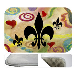 "usa - Fluer De Lis And Hearts,  20"" X 15"" - Bath mats from my original art and designs. Super soft plush fabric with a non skid backing. Eco friendly water base dyes that will not fade or alter the texture of the fabric. Washable 100 % polyester and mold resistant. Great for the bath room or anywhere in the home. At 1/2 inch thick our mats are softer and more plush than the typical comfort mats. Your toes will love you."