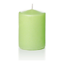 """Neo-Image Candlelight Ltd - Set of 12 - Yummi 3"""" x 4"""" Celery Green Pearlescent Pillar Candles - Our unscented 3""""x4"""" Pearlescent Pillar Candles are ideal when creating a beautiful candlelight arrangement for the home or wedding decor.  Available in 7 trendy pearlescent candle colors hand over dipped with white core to match and compliment your home decor or wedding centerpiece decoration."""