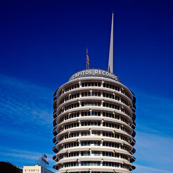 Capitol Records Tower Print - The 1956 Capitol Records tower, a Hollywood landmark, fittingly resembles a stack of phonograph records. Home to the company's studios and offices, the thirteen-story, reinforced-concrete structure was the world's first round office building, 04/07/05. This images was digitally captured by Carol M. Highsmith.