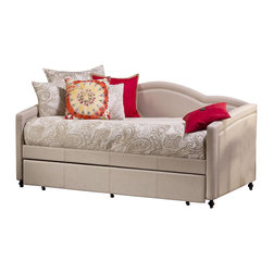 Hillsdale Furniture - Twin Daybed with Trundle - Includes trundle. Finished in a lovely linen stone-colored fabric. Accommodates a standard twin size mattress. Some assembly required. . 83.66 in. W x 42.3 in. D x 39.75 in. H (87 lbs.)