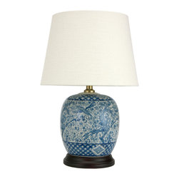 """Oriental Furniture - 20"""" Classic Blue and White Porcelain Jar Lamp - Inspired by traditional Chinese design, this breathtaking porcelain lamp features an ornate blue-on-white design. In the center of the design, exotic birds nestle among blossoming tree branches in between a fine latticework border above and below. This lamp is attached to a wooden stand and is complemented by a round lampshade. A perfect choice for bringing a dash of color and a touch of Chinese refinement to your interior decor."""